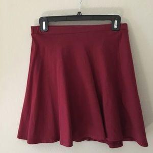 Lily White Skater Skirt (Gray and Burgundy)